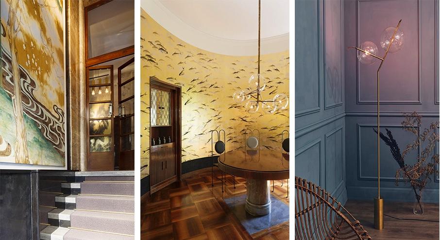 """Links und Mitte: Einblick in die Ausstellungsräume, in denen """"Stranger Pinks"""" gezeigt wird Rechts: SILVIO MONDINO - Stehlampe """"Mickey"""""""