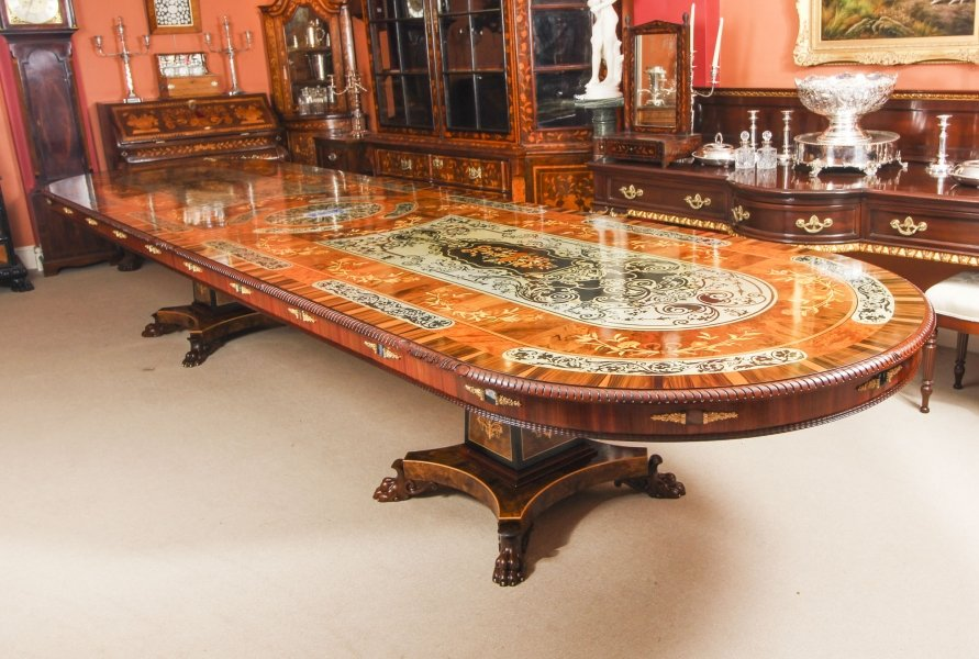 Bespoke 17ft Marquetry Dining Table, Pewter, Lapis Lazuli & Agate Inlaid. Photo: Regent Antiques