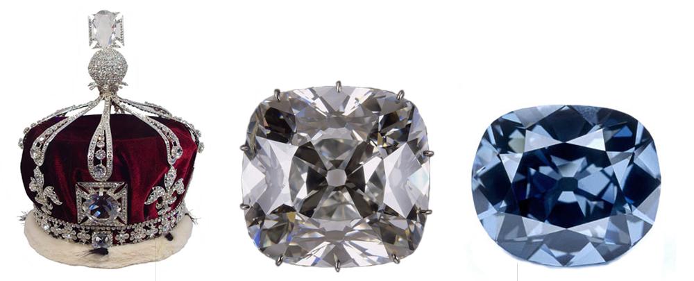 Le Koh-I-nor, serti sur la couronne royale britannique (conservée à la Tour de Londres), le Régent, (conservé au Louvre) et le Grand diamant bleu (de la couronne française, rebaptisé le Hope et conservé au Smithsonian Institute de Washington).