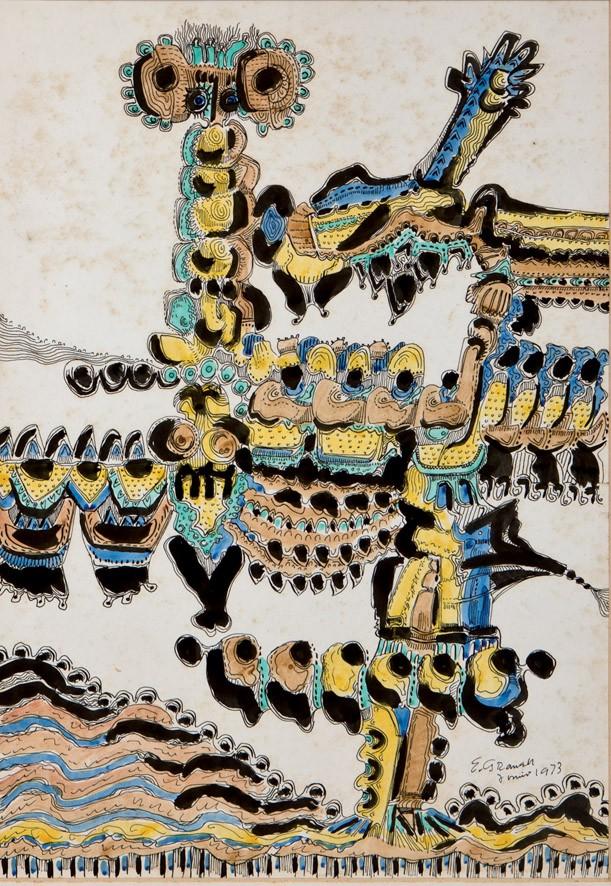 EUGENIO GRANELL (1912-2001) - Figura junto al mar, Aquarell/Papier, signiert und datiert, 1973