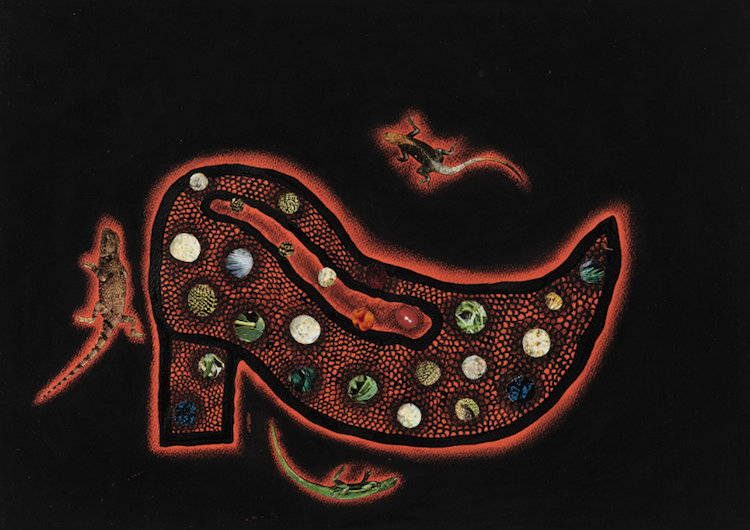 """Yayoi Kusama, """"Shoe"""", ink, pastel and collage on paper, 1994, inramad. Utropspris 133 000 SEK, Sotheby's"""