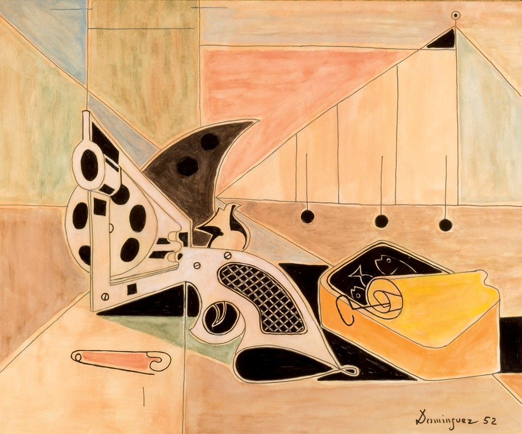 Óscar Domínguez, Revólver y lata de sardinas, 1952, gouache, image ©Durán