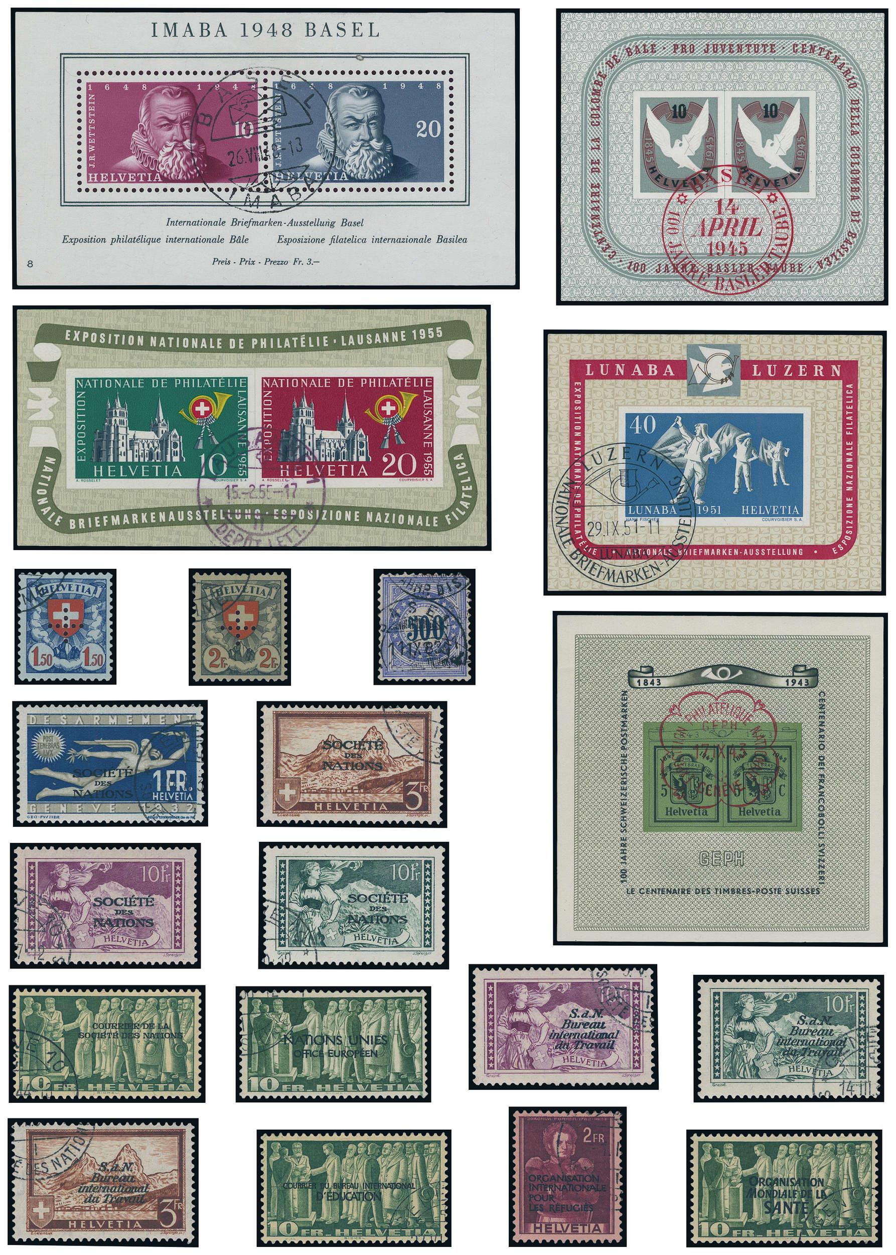 Schweiz - Sammlung 1850/1990 mit Gedenkmarke 100 Jahre Basler Taube