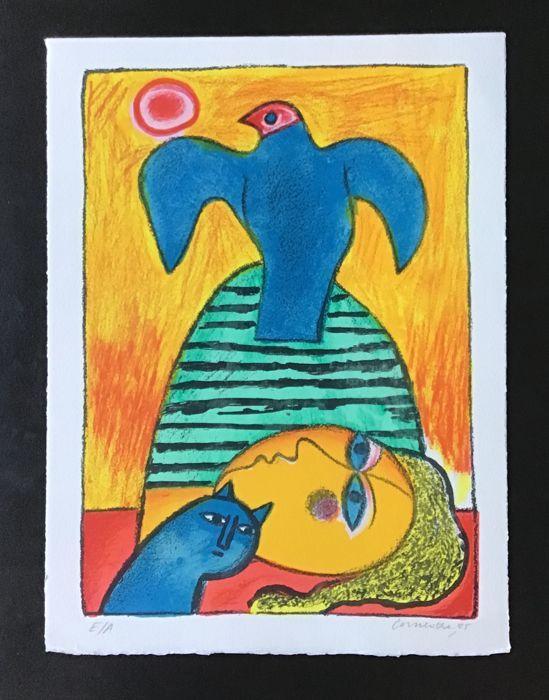 Corneille, Oiseau bleu et soleil rouge, lithographie signée, 2005