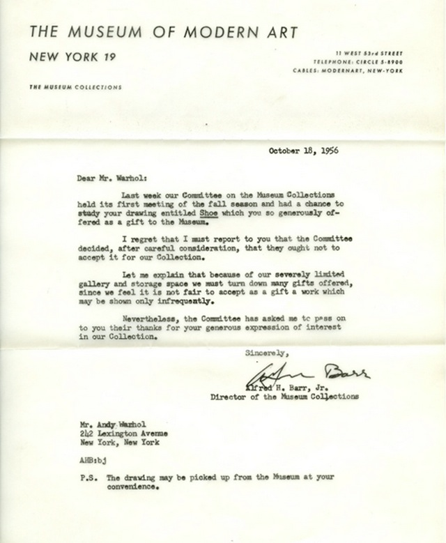 1956 letter from MoMA addressed to Andy WarholImage: MoMA