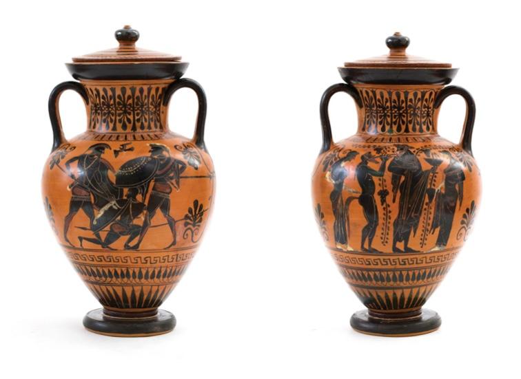 Attische schwarzfigurige Amphora mit Deckel, H: 49 cm, 530-500 v. Chr. Schätzpreis: 30.000-40.000 GBP (34.416-45.888 EUR)