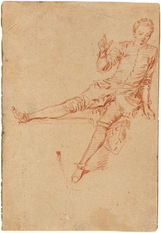 Antoine Watteau, 'Étude de jeune homme assis, la jambe droite et la main levées', red chalk and handmade paper. Photo: Grisebach