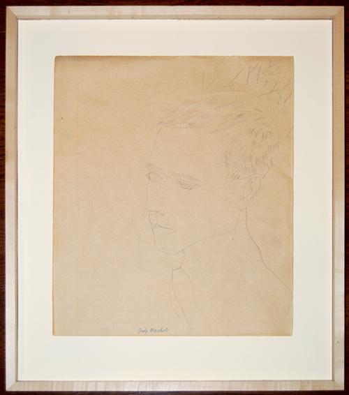"""Dessin au stylo à bille original et signé d'Andy Warhol envoyé au service d'évaluation de Barnebys. Exécuté vers 1956, ce dessin est estampillé comme authentique par Andy Warhol Authentication Board, Inc., et numéroté A126.056 au verso. Collection privée. Acquis par le propriétaire actuel en 1969. La taille du dessin est 16-3 / 4 """"par 13-3 / 4""""."""