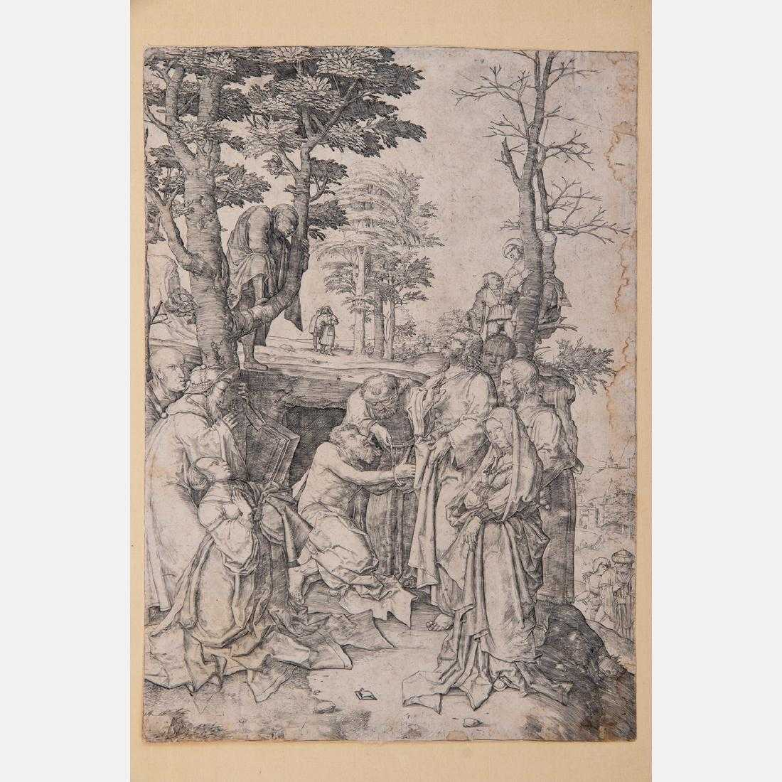 Engraving on laid paper by the Dutch artist Lucas van Leyden (1494-1533), titled The Praising of Lazarus (circa 1508), 11 ½ inches by 8 inches (est. $800-$1,200).
