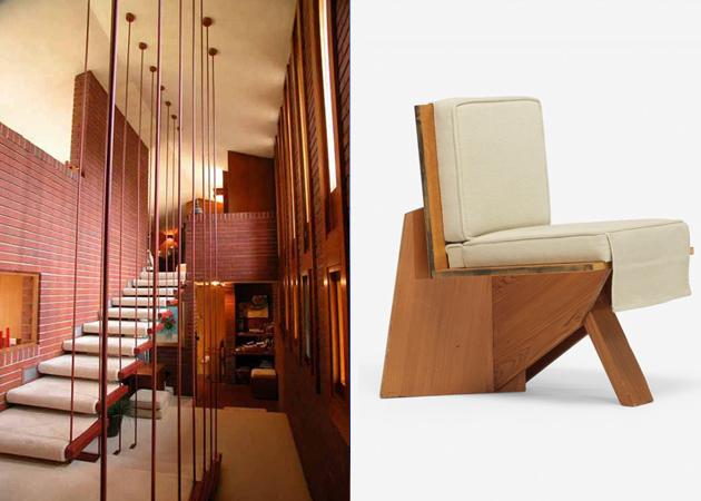 Till vänster: Hus ritat av Frank Lloyd Wright 1948. Till höger: Fåtölj av Frank Lloyd Wright 1939. Utrop: Wright