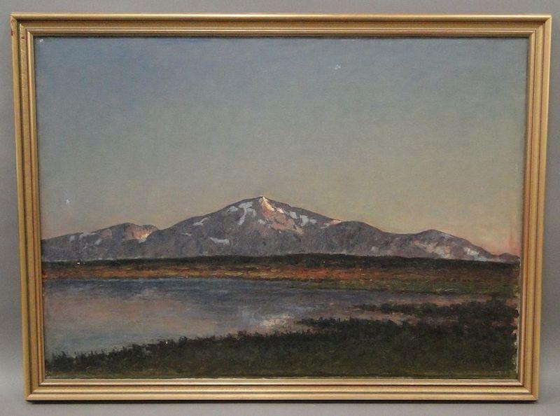 Per Ekströms något ovanliga motiv, en fjällvy som troligen är hämtad från Jämtland är signerad P.Ekström och daterad 1898. Utropet är 12 000 kronor