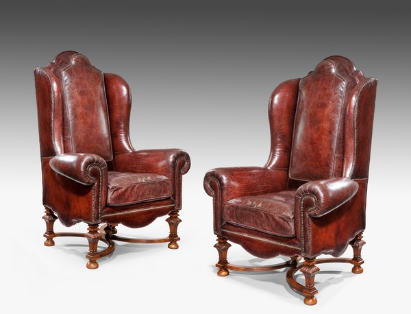 Wing Armchairs in Leather. Photo: Wick Antiques
