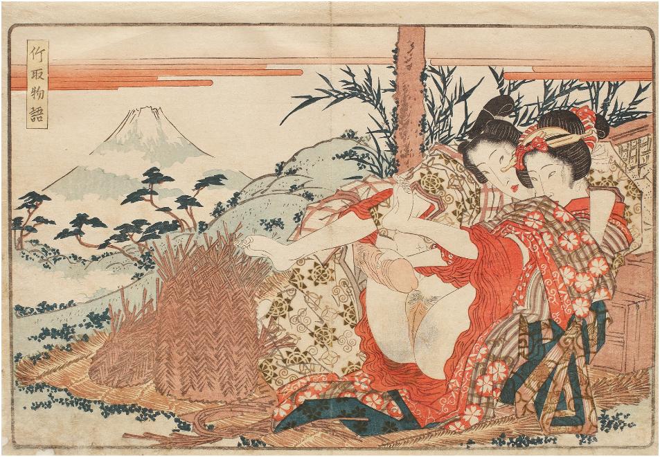 KEISAI EISEN - Shuna with Mount Fuji in the background, Taketori Monogatari series (The Tale of the Bamboo Reaper) Nichiki-e technique On sale at Artmark