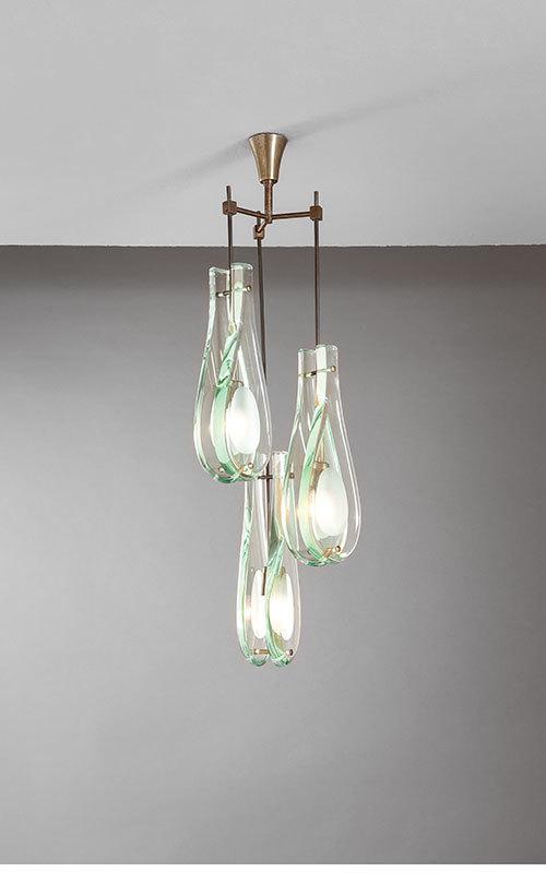 MAX INGRAND - taklampa, stål, oxiderad mässing, glas. Fontana Arte, 1950. Utropspris: 83,600 SEK. Della Rocca.