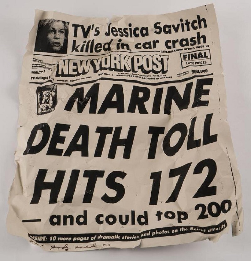 ANDY WARHOL. New York Post Marine Death Toll Hits 172. Firmado Jon / Andy Warhol '83