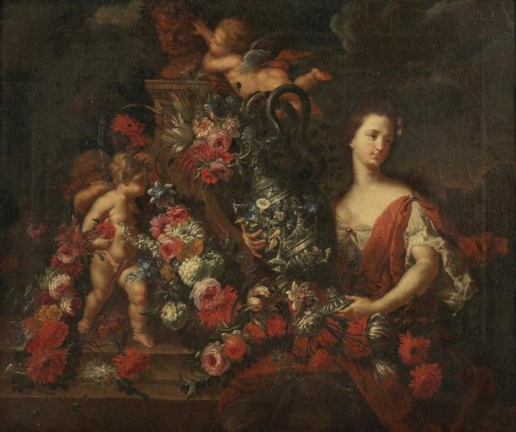 JEAN-BAPTISTE BOSSCHAERT (1667 Antwerpen 1746) - Blumenstillleben mit Putten und Personifikation, Öl/Lwd., signiert