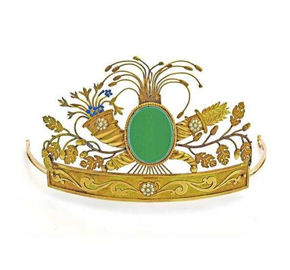 Golddiadem mit grünem Karneol, Anders Cedergren, Göteborg 1806-34 Kurt Ribbhagen