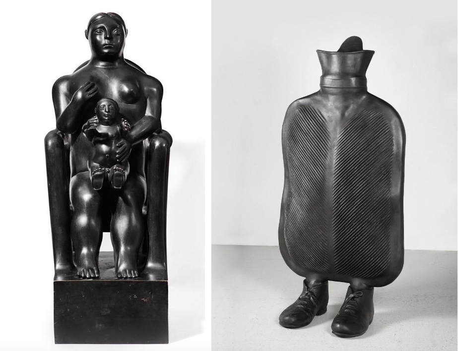 Vänster: FERNANDO BOTERO (1932-) 'Mor och barn', brons med svart patina, numrerad och signerad, 1994. Höger: ERWIN WURM (1954-) - 'Mother', brons med svart patina 2014.