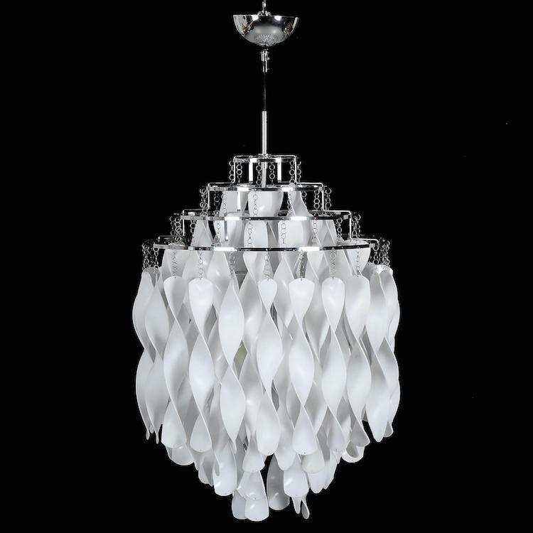 "TAKLAMPA, ""Spiral SP1"", introducerad 1969, VERNER PANTON via Frandsen Lighting A/S, Danmark. Utropspris: 1 000 SEK."
