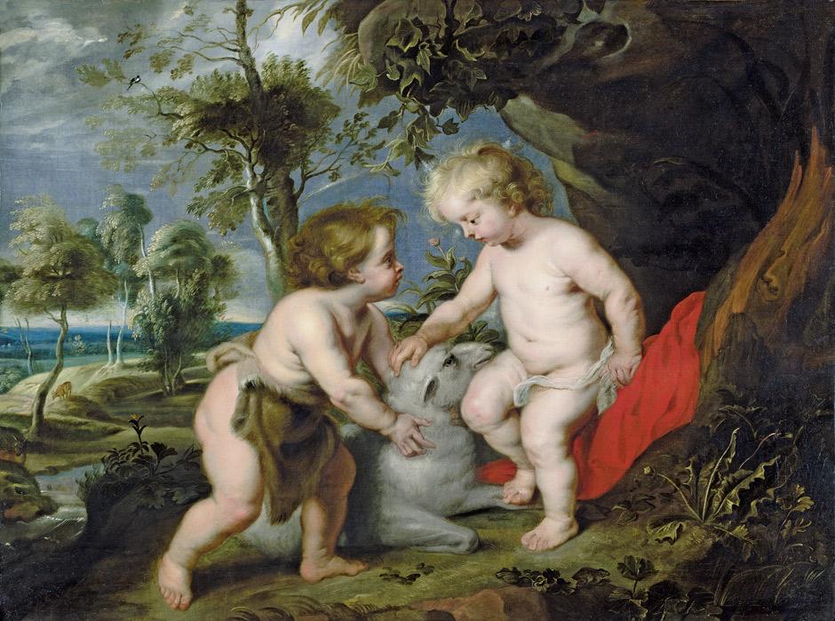 """PETER PAUL RUBENS (1577-1640) Werkstatt - Der Christusknabe mit dem kindlichen Johannes dem Täufer (der """"Spinola-Rubens""""), Öl/Lwd., 111,7 x 148,9 cm Schätzpreis: 120.000 EUR"""