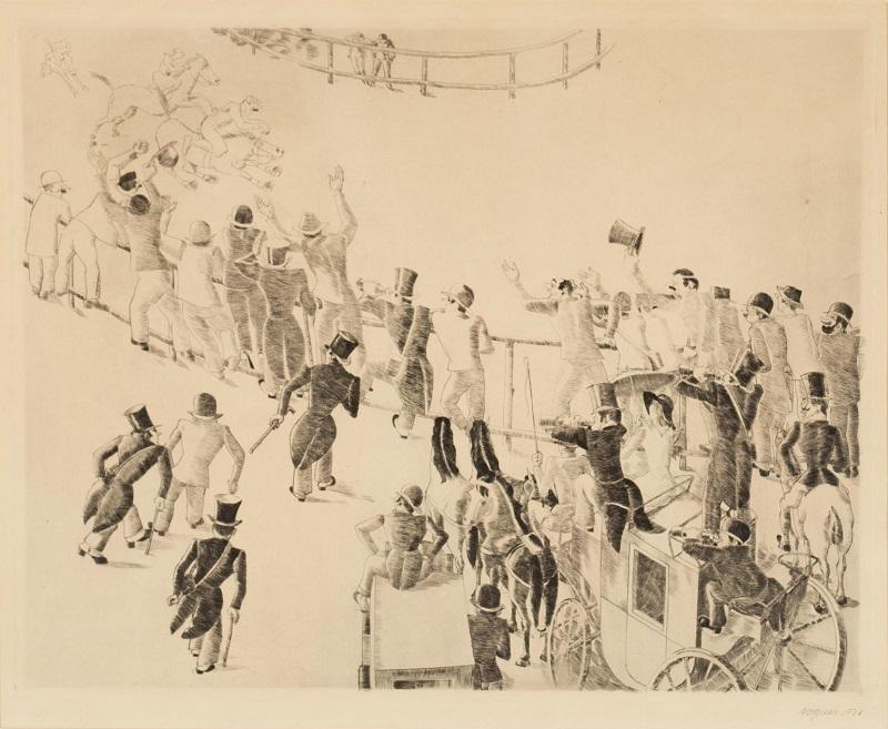 XAVIER NOGUÉS CASES. Carrera de caballos. Aguafuerte firmado y fechado (1934)