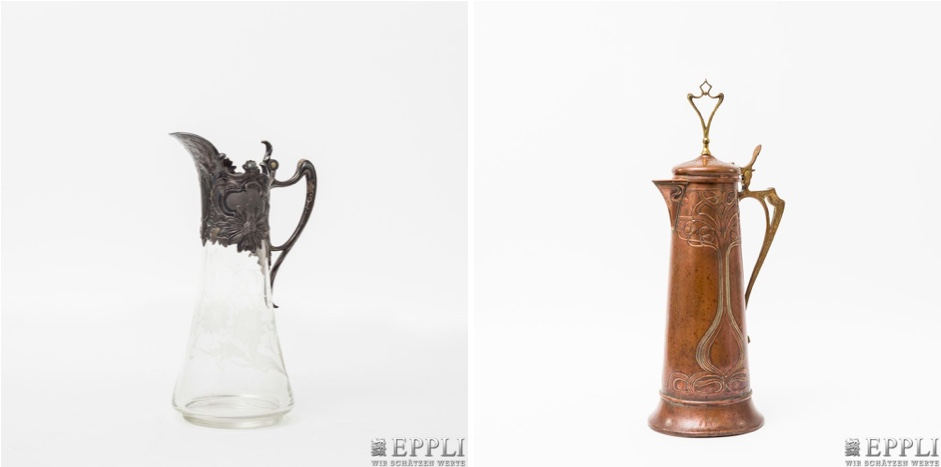 Links: WMF - Glaskaraffe mit Metallmontur, um 1900 | Rechts: WMF - Kanne aus Messing und Kupfer, Anfang 20. Jh.