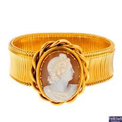 維多利亞中期的黃金貝殼浮雕手鐲
