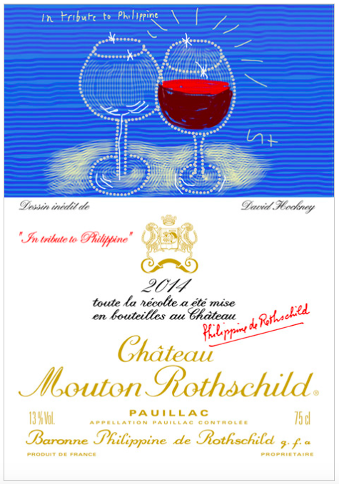 David Hockney för Mouton-Rothschild, 2014. Bild: Mouton-Rothschild