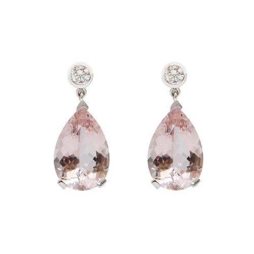 Boucles d'oreille morganite, diamants, or gris En vente chez Les Pierres de Julie