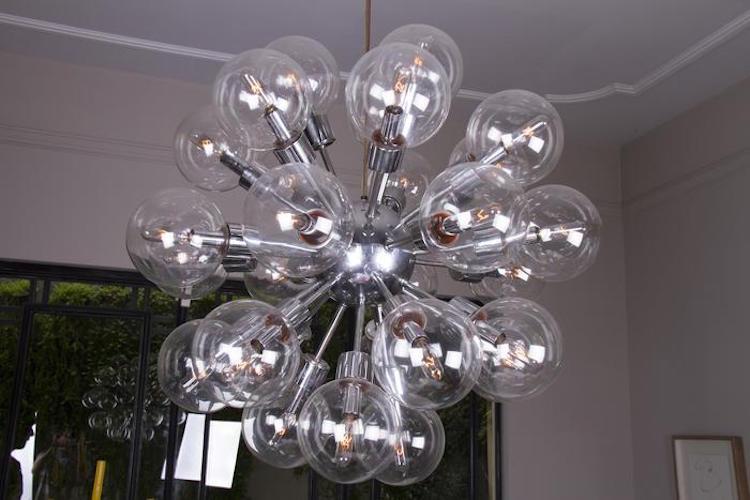 Sputnik Chandelier, Lightolier. Estimate $3,000 - $5,000. Photo via Paddle8