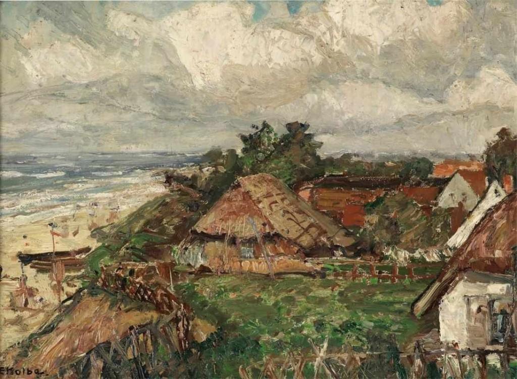 ERNST KOLBE (1876 Marienwerder - 1945 Rathenow) - Friesenhäuser an der Nordsee, Öl/Karton, 50x70 cm, signiert Aufrufpreis: 1.800 EUR