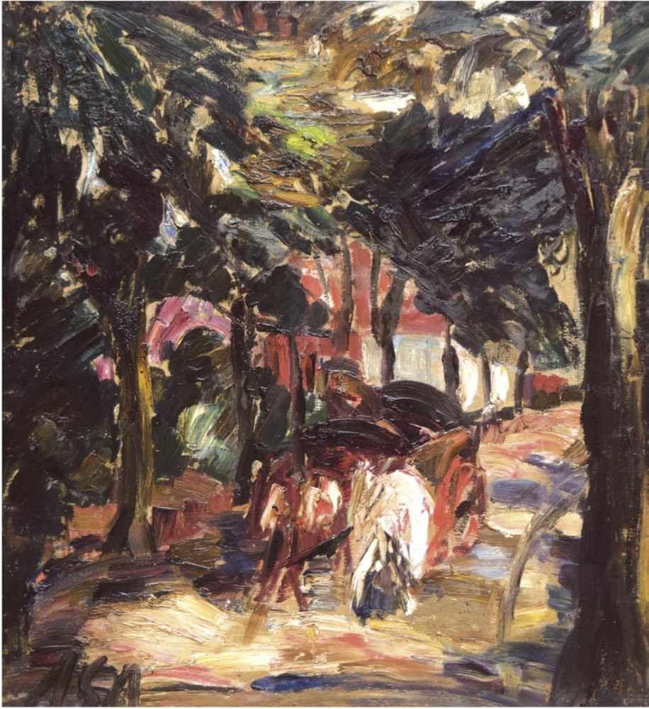Albert Schiestel-Arding (1883 Erding bei München-1937 Bremen), Alte Worpswede Bauernreihe, Öl/HP, monogrammiert