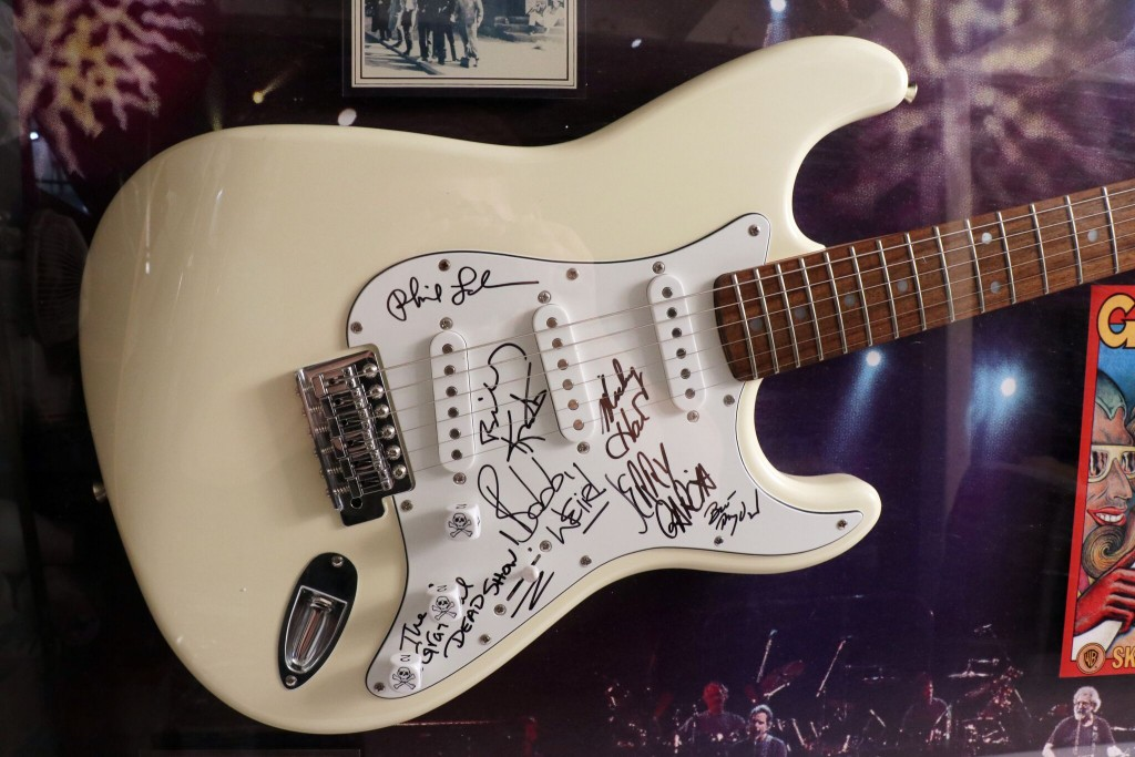 Guitars signed by the Stones