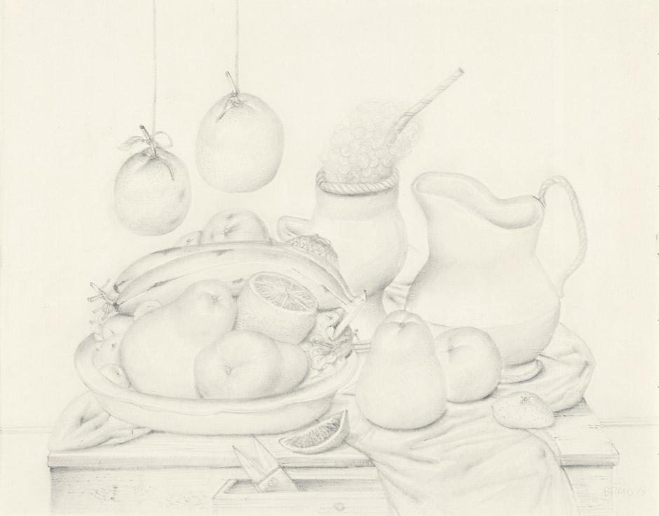 FERNANDO BOTERO (*1932) - Stilleben mit hängenden Orangen, Bleistift auf chamoisfarbenem Ingres Canson-Bütten, 49,5 x 62,7 cm, signiert und datiert, 1973 Schätzpreis: 40.000 EUR