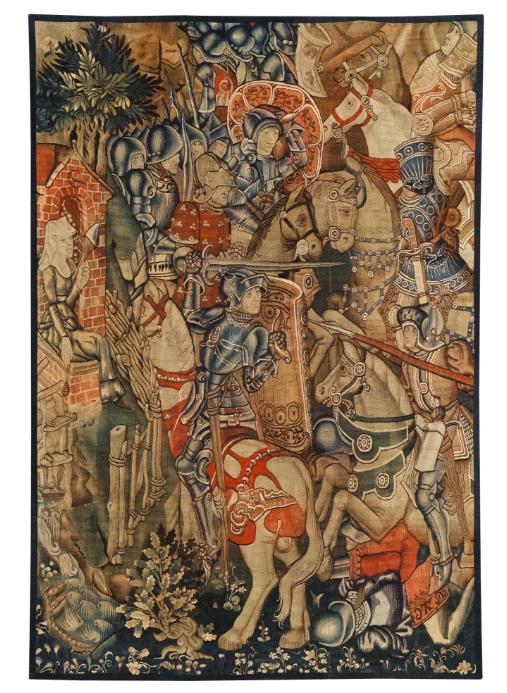 Fragment einer mittelalterlichen Tapisserie, Südholland 3. Viertel 15. Jh. Schätzung: 70.000 - 100.000 EUR