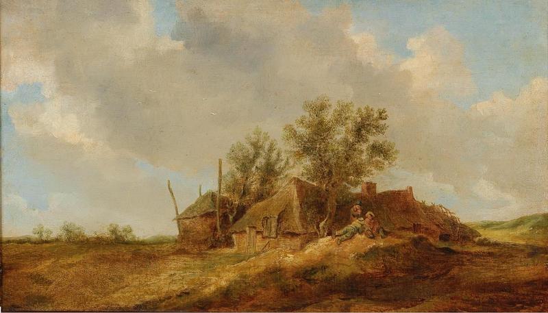 JEAN VAN GOYEN. Un paisaje con campesinos delante de una granja. Firmado