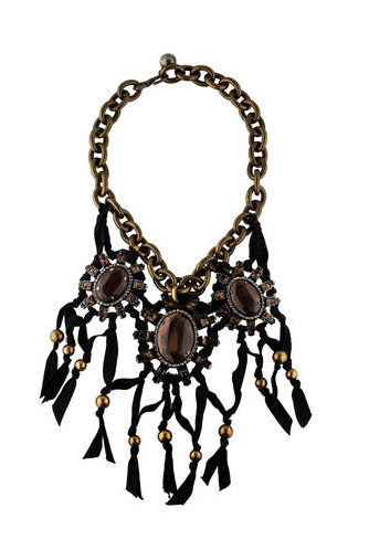silver-tone and bronze and grey crystal embellishments featuring black ribbon, gold-tone bead embellishments and S-hook closure.