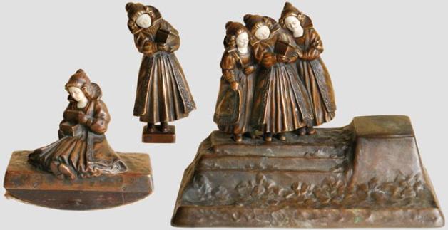 Patinerad bronsensemble av Peter Tereszczuk (1875 - 1963) Utropspris: 116 000 SEK Hermann Historica