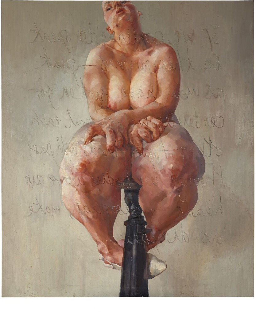 "Jenny Saville, ""Propped"", olio su tela, 1992. Courtesy of Sotheby's"