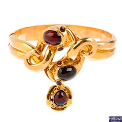 維多利亞早期 黃金深紅色蛇形手鐲