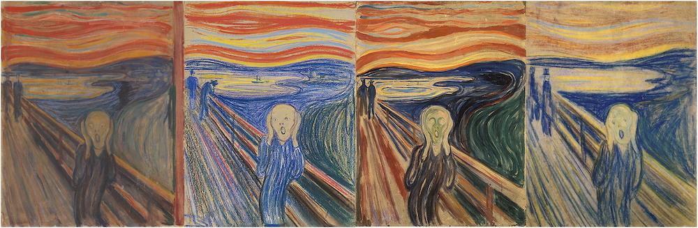"""Der 4 Versionen von Munchs """"Der Schrei""""   Foto via journals.ametsoc.org"""