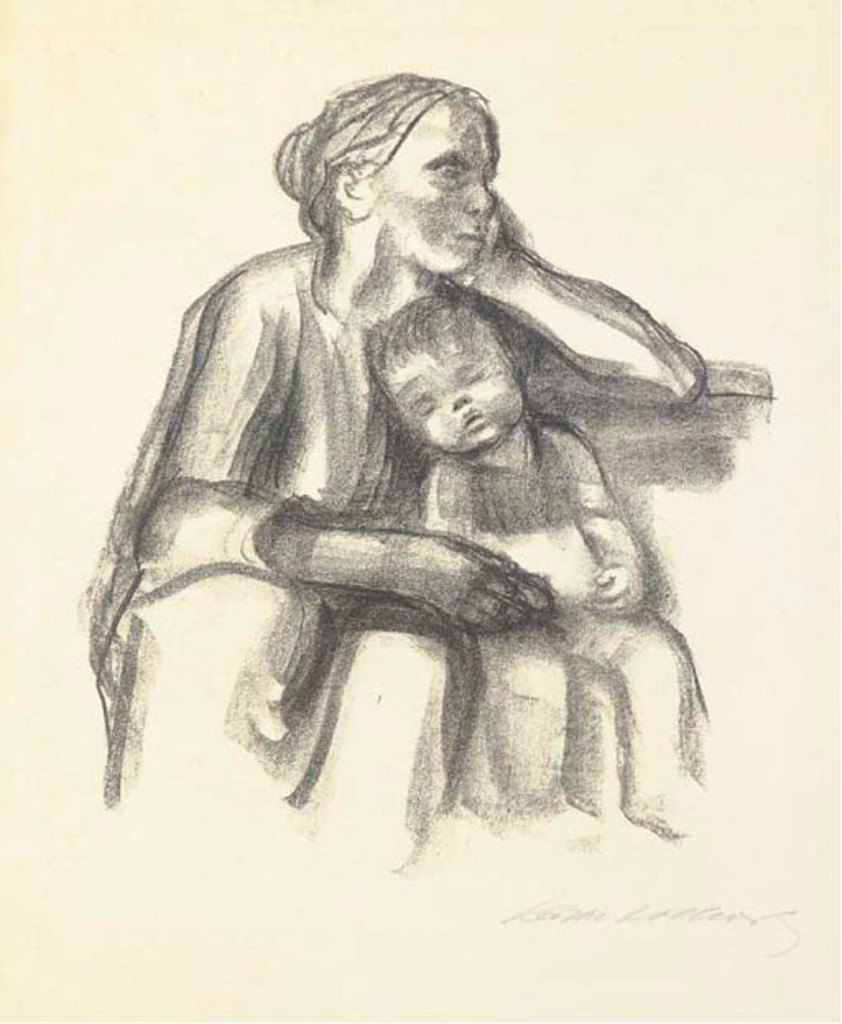 Käthe Kollwitz, « Worker's Wife with Sleeping Boy », 1927, image ©Christie's