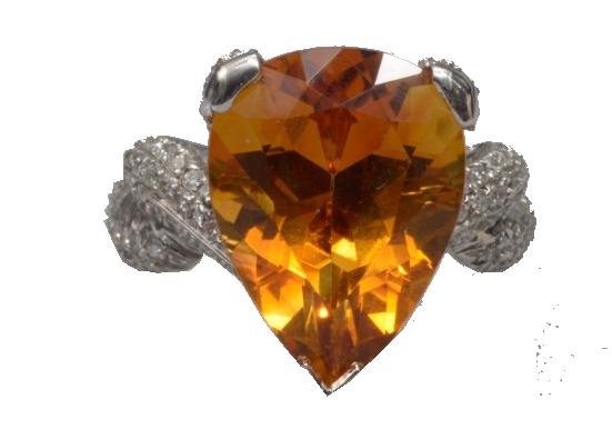 Bague en or blanc sertie d'une citrine de +/-8 carats et de diamants taille brillant pour un total de +/-1.20 carats Vanderkindere
