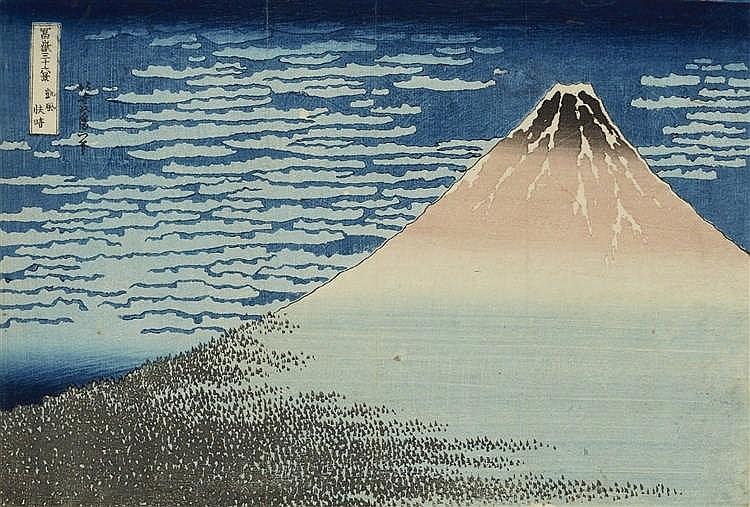 """KATSUSHIKA HOKUSAI (1760-1849) - """"Roter Fuji"""", Holzschnitt, 2. Auflage, 1830/31"""