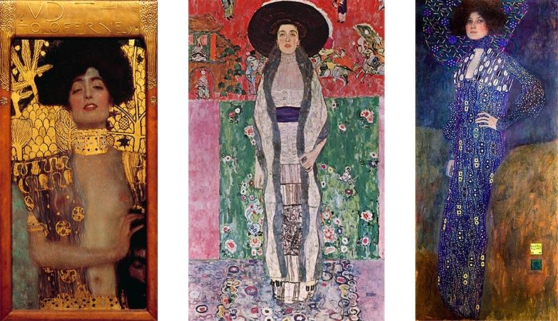 Links: Gustav Klimt, Judith I, 1901 Mitte: Gustav Klimt, Adele Bloch-Bauer II, 1912 Rechts: Gustav Klimt, Bildnid der Emilie Flöge, 1902 | Alle Abbildungen: Wikipedia