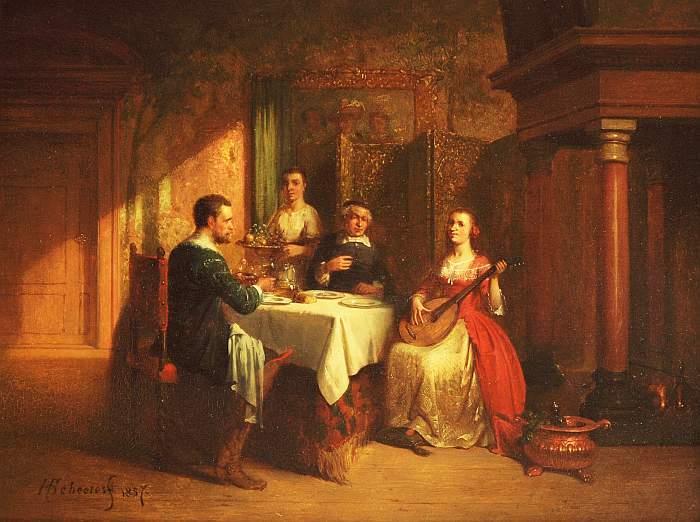 HENDRICUS JOHANNES SCHEERES (1829 Den Haag 1864) - Gesellschaft in niederländischem Interieur, Öl/Lwd., signiert und datiert, 1857
