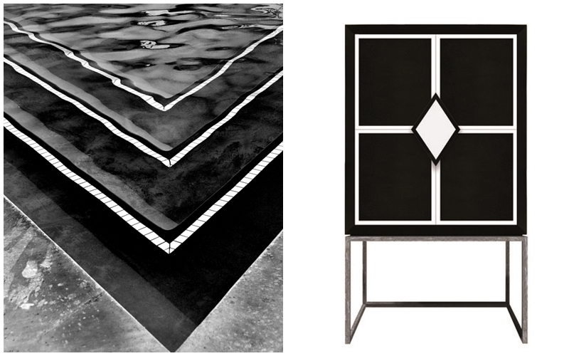 """Left: WILLIAM DEY. """"Pool abstraction"""". Photography. Photo via: Zatista. Right: ISABELLA COSTANTINI. Lacquered furniture in black and white with metal frame. Image via: Artemest."""