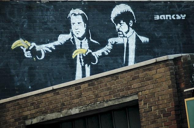 Banksy, Samuel L. Jackson, John Travolta, graffiti, gatukonst