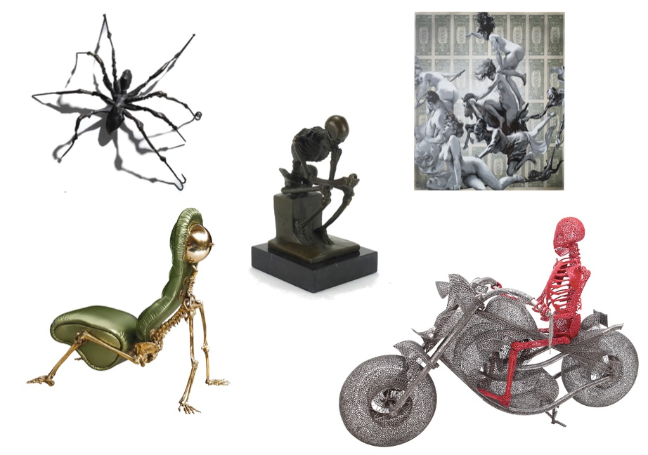 "LOUISE BOUREOIS - Spider II, Bronze, ca. 1995|Christie's ROBERTO FALLANI - Gepolsterte Sitzskulptur ""Skeleton"", Messing, 2014|Bertolami Studie eines sitzenden Skeletts, Bronze|Eastbourne Auctions PENNY - Departure of the Witches, Mischtechnik, 2012|Robert Fontaine Gallery ANACLETO SPAZZAPAN - Skulptur ""Ghost Rider"", Metall, Italien 2010|Ehrl"