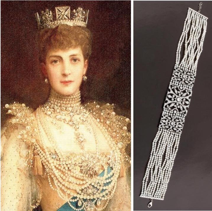 Links: LUKE FILDES - Königin Alexandra, 1905 (Detail) Rechts: Collier de Chien aus Platin und WG mit Diamanten und Süßwasserkulturperlen